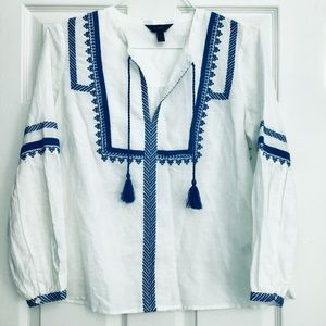 J. CREW Boho Linen Embroidered White Blue Tunic 6